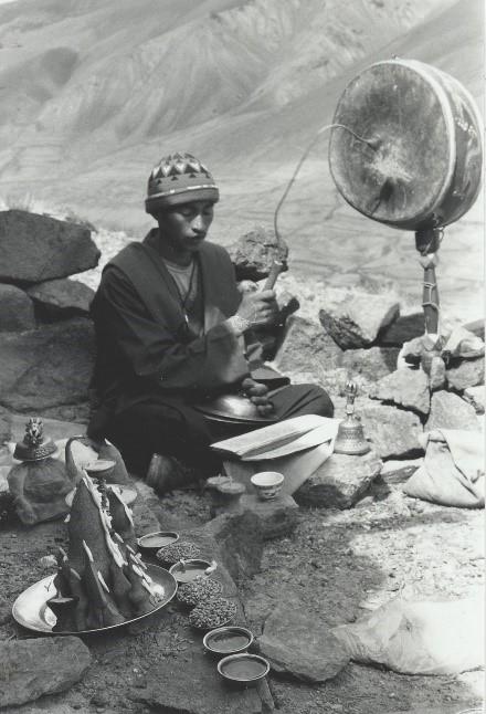 Lama with lha rnga in Ladakh