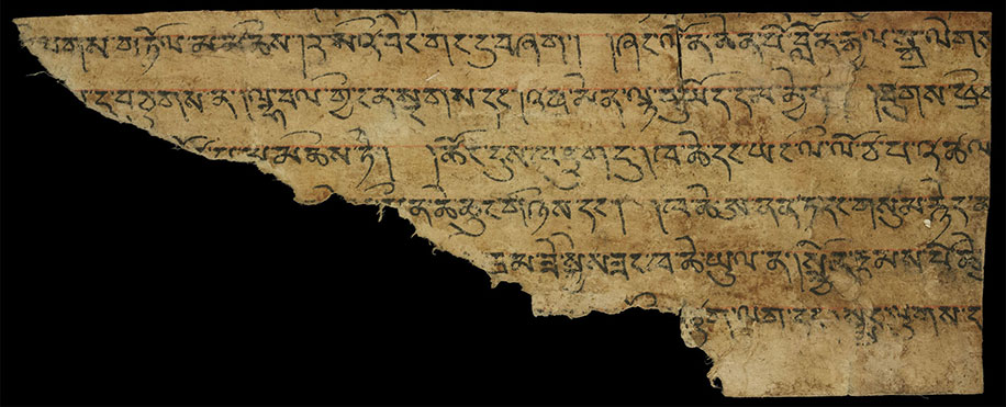 Fragment of the dBa' bzhed found at Dunhuang © British Library, Or 8210/S.9498A